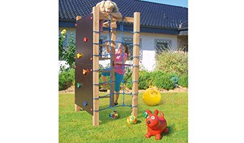 Garten Outdoor Spielanlage Kletter-Wand Kletter-Turm mit Turn-Reck im Maß ca. 110 x 110 x 221 cm