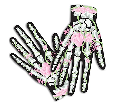 Halloween Costume Gloves for Female, Hot Pink (Roses & Bones) (Scary Mary)