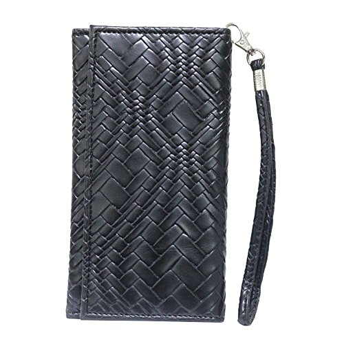 Jo Jo A5 Bali Leather Wallet Universal Pouch Cover Case For Karbonn Platinum P9 Black