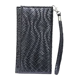 Jo Jo A5 Bali Leather Wallet Universal Pouch Cover Case For Videocon V7500 Black