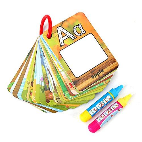 Fdit Doodle Agua Palabra Tarjetas Cognitivas de Educación Temprana para Niños Bebés con 2 Bolígrafos Mágicos Juegos de Escribir Pintar Aprender Números Letras Acuarelas Alfabeto Infancia (Letra)
