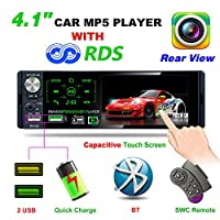 "TekHome 2019 New Car Radio with 4.1"" Touchscreen & Rear View Camera, Single Din Car Stereo with 2 USB Fast Charging and A2DP Bluetooth, FM/AM/RDS Tuning, TF Port, Aux In, SWC Remote, 7-Color Light."