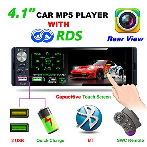 """TekHome 2019 NEU 1 DIN Autoradio mit 4.1"""" Bildschirm und Rückfahrkamera, Auto Radio mit A2DP Bluetooth und USB Schnelle Aufladung, AM/FM/RDS, TF Port, Aux In, SWC Fernbedienung, 7 Lichtfarben."""