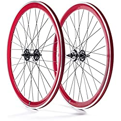 State Bicycle Fixed Gear Components - Rueda para bicicletas, color rojo, talla 700 C