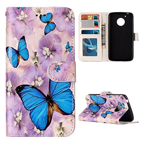 Rosa Schleife Moto G5 Hülle, Motorola Handyhülle PU Ledertasche Flip Wallet Cover Bookstyle Case Schutzhülle TPU Silikon Bumper Schale für Lenovo Moto G5 mit Embossed Schmetterling -