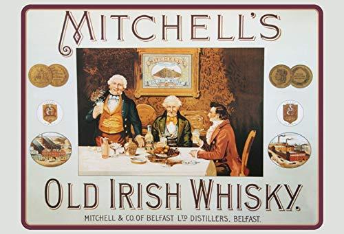 Mitchells Mitchell\'s Old Irish Whisky Motorcycle Blechschild Metallschild Schild gewölbt Metal Tin Sign 20 x 30 cm