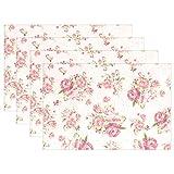 XiangHeFu Tischsets mit Rosenmuster auf rosa Hintergrund, 30,5 x 45,7 cm, Rutschfest, hitzebeständig, für Esstisch, Polyester-Mischgewebe, Image 211, 12x18x4 in