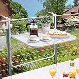 JAUTO - Tavolo da Balcone, 60 x 40 cm, da Appendere al Balcone, in Metallo e Rivestimento in plastica, Pieghevole, per balconi Piccoli, Pieghevole e Resistente alle intemperie