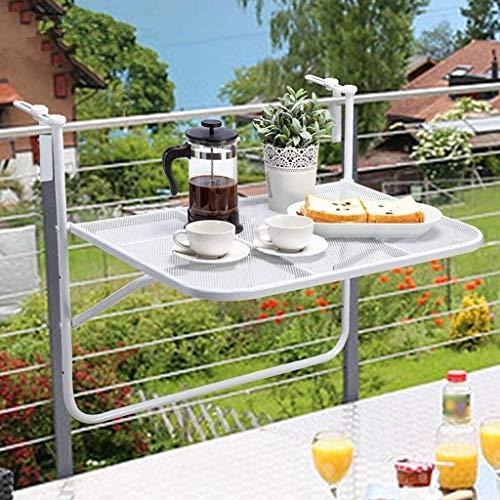 Balkonhängetisch W75xD55xH65cm-JAUTO Balkontisch zum Einhängen aus Streckmetall & Kunststoffummantelung – Klapptisch für kleinen Balkon – Hängetisch klappbar &