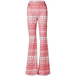 Jiayiqi Pantalones De Campana Ancha Abotonada Pierna Hippie para Mujer XL