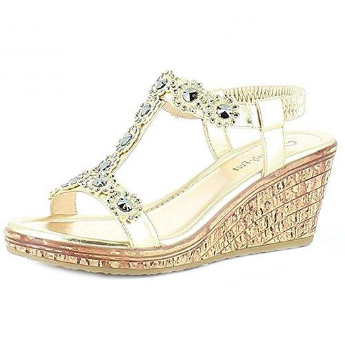 Heavenly Feet , Sandales Plateforme femme Doré