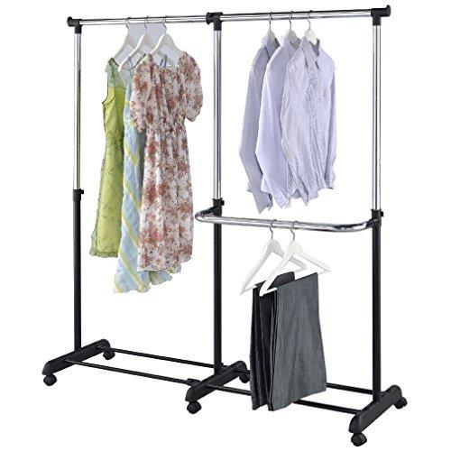Kleiderständer MEX-73 mobil Doppel Kleiderstange ausziehbar Garderobe fahrbar Rollen