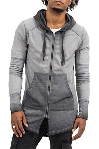 trueprodigy Casual Herren Marken Sweatjacke einfarbig Basic, Oberteil cool und stylisch mit Kapuze (Langarm & Slim Fit), Sweat Jacke für Männer, Größe:L, Farben:Anthrazite