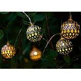 Solalux solarbetriebene Lichterkette mit 12 marokkanischen LEDs in Kugelform für den Garten - Rostfrei - 2. Generation