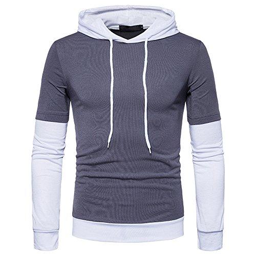 Herren Hoodie,TWBB Warm Farbe Patchwork Kapuzenpullover Mit Tasche Lange Ärmel Sweatshirt Pullover Mantel Outwear Sweatjacke Hemd