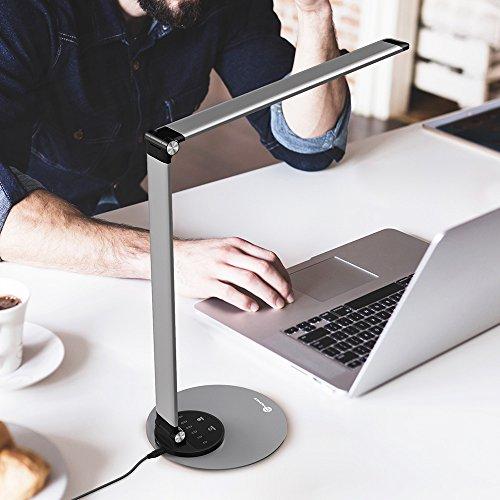 Lampada da Scrivania TaoTronics, Lampada da Tavolo Ufficio LED 12W con 6 Luminosità + 3 Temperature di Colore, Porta di Ricarica USB per Smartphone, LED Occhi-Cura, Funzione Memoria – Grigio Argento - 9