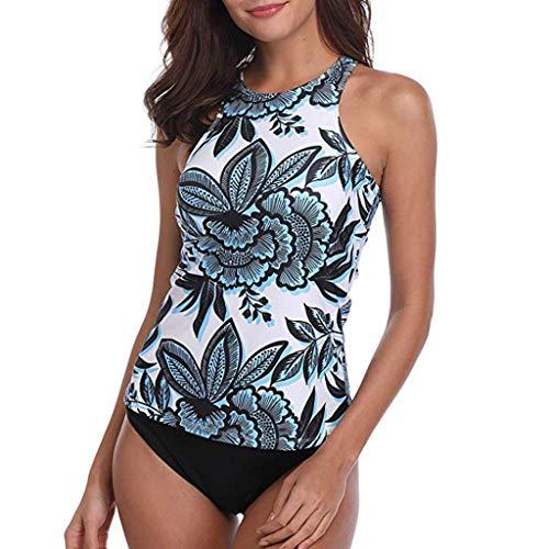 VECDY Bikini Damen Set Sexy Zwei Stück Plus Size Sexy Backless Stehkragen mit Blumenmuster Badebekleidung Tankin Bikinioberteil mit Nackenträger