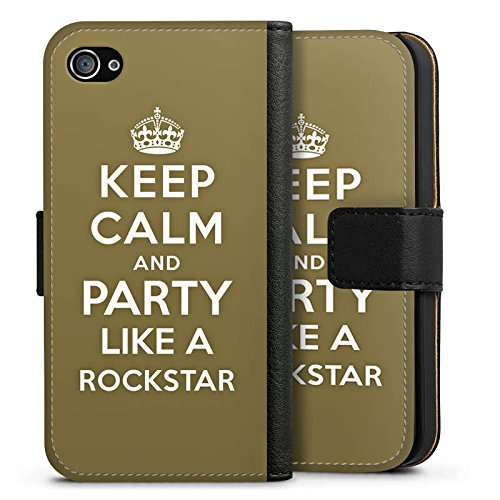 Apple iPhone X Silikon Hülle Case Schutzhülle Keep Calm Rockstar Musik Sideflip Tasche schwarz