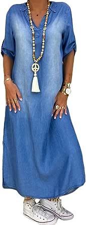 ORANDESIGNE Vestiti Jeans Donna Estivi Vestiti Camicia Maniche Corte Estate Blu Casual Vestito Scollo a V Camicia Vestito Denim Maxi Dress