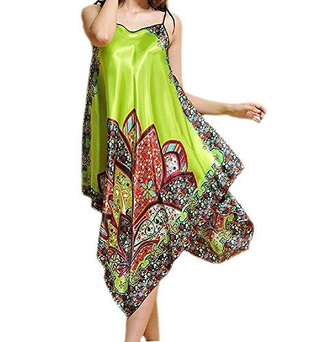 BigForest Damen BOHO Strap Satin Silk lang Negligee Pajama Verstellbar Schlafanzug Nachtkleid Mint