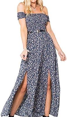 Vestido De Hombro Verano para Mujeres Playa Fiesta Casual Cóctel Vestido Bohemo Maxi Estampado Floral Largo Mangas Cortas-LATH.PIN