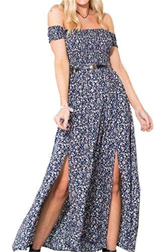 Vintage donna sexy fiores estivi senza maniche fasciante casual abito da sera partito festa banchetto-lath.pin (xxl, blu)