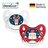 Dentistar® Winter Kollektion Schnuller 2er Set inkl. 2 Schutzkappen - Nuckel Silikon Größe 1 von 0-6 Monate, zahnfreundlich & kiefergerecht - Nuggi für Babys - Weihnachtsmann & Rentier