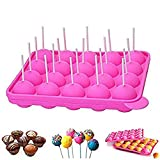 newthinking 20 de silicona bandeja Pop Cake Stick mould- Lollipop partido de utensilios para hornear molde, Jelly y Chocolate, 20 unidades de incienso, no adhesivas, color rosa