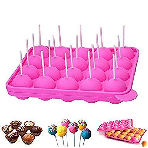 Newthinking Cakepopform, für Cupcakes, Backform mit 20 Mulden, BPA-frei, lebensmittelecht, für Süßigkeiten, Gelee und Schokolade, antihaftbeschichtet, 20Stiele, Pink