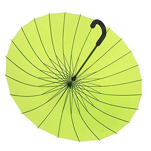 ssby manuale 24ombrelli, Acqua Fiore solido gancio ombrello creativo superficie femmina letteraria Clean lungo ombrello, Green