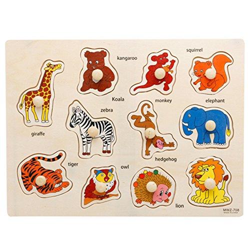 mi ji Transport en Bois Peg Puzzle Jigsaw Bundle Forme Jouets et Jeux pour L'age 2-7 Ans Enfants Enfants Bebe Jouets 1 Set (Animaux)