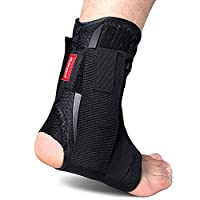 Kuangmi Ankle Brace Lace Up With Side Stabilizers and Cross Auxiliary Fixing Belt Strength Protection 1 Piece