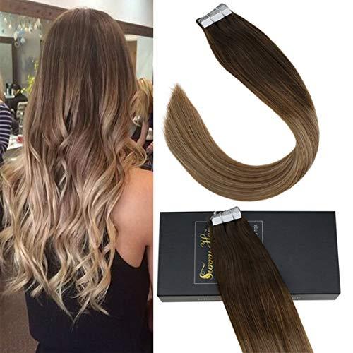 Sunny extension biadesivo capelli veri 20 fasce adesive 100% remy extensions shatush umani capelli naturali 35cm 50g/pack #4/6/18 marrone scuro a medio con biondo scuro cenere