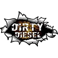 CT Design Dirty Diesel Funny Slogan with OVAL RIPPED OPEN TORN METAL Effect Motif Vinyl Car Sticker 150x90mm
