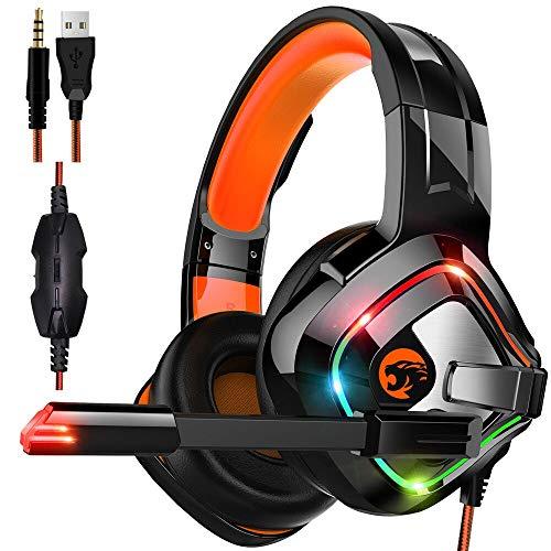 STOGA Gaming Headset mit Stereo-Surround-Sound, USB-Kabel-PC-Gaming-Kopfhörer Kopfhörer mit Mikrofon und buntem Atemlicht Kompatibilität mit Xbox One, PS4, PC, PS Vita, Smartphone -