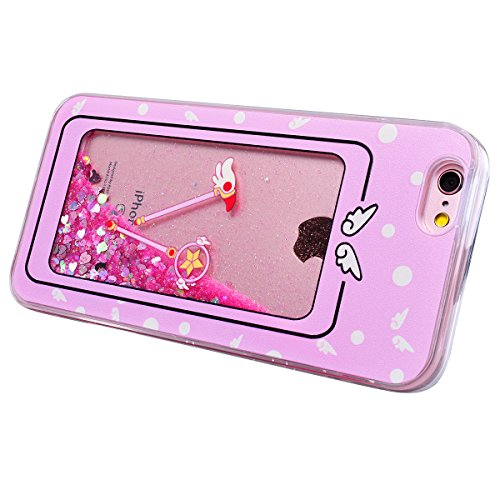 HB-Int Glitzer Liquid Hülle für iPhone 6 Plus / 6S Plus Transparent TPU Bumper Backcover Luxus Sterne Herz Sparkle Bling Schutzhülle Flüssigkeit Handyhülle Tasche Glänz Etui - Blumen Einhorn Magie Stab