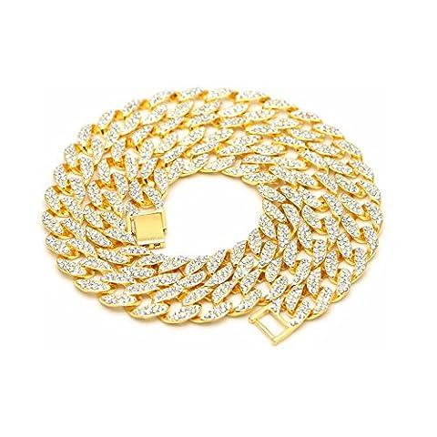 Herren 2 Reihen Iced Out Kristall Steine vergoldet geschoben Cuban Link Kette Halskette