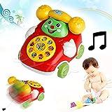 YukioKinderToys - Baby Spielzeug mit Cartoon, Telefon, Musik, über 3 Jahr Alt, zufällige Farbe, mit Lächeln pädagogisches Kinderspielzeug Lernspielzeug als Geschenk 10,6 x 8,9 x 6,6 cm