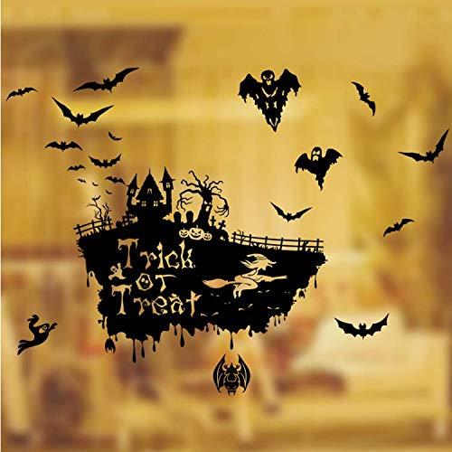 GHUJFDB Fliegende Fledermaus Hexe Schädel Kürbis Wandaufkleber Happy Halloween Day Süßes Oder Saures Fenster Dekoration Festival Wandtattoos Poster100 * 70Cm