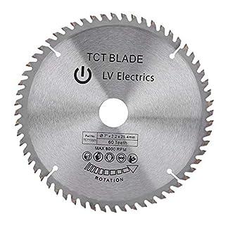 Hoja de sierra circular, 7″(180 mm) 60 dientes Disco de corte de carburo para acero aluminio madera plástico