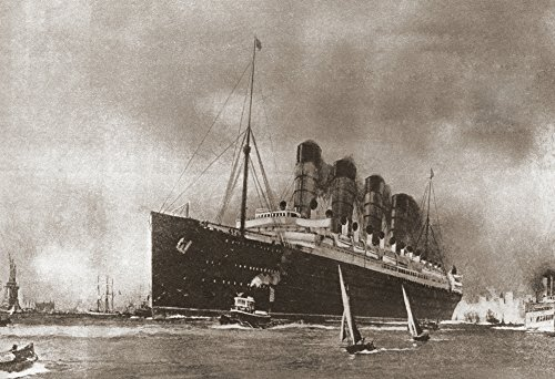 Ken Welsh / Design Pics - Rms Lusitania Cunard Line Ocean Liner Later Torpedoed And Sunk By A German Submarine In 1915. From The Story Of Seventy Momentous Years Published By Odhams Press 1937. Photo Print (43,18 x 30,48 cm) -