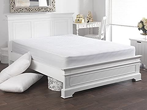 Breathable Light Quilted Natural Cotton Filled Mattress Protector with 15 Inch Skirt - Double