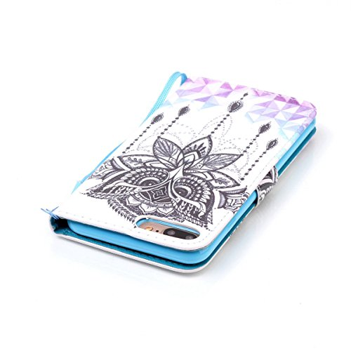 SainCat iPhone 7 Plus Custodia in Pelle,Cover iPhone 7 Plus Anti-Scratch Protettiva Caso Custodia Per iPhone 7 Plus, Elegante Creativa Dipinto Pattern Design PU Leather Flip Ultra Slim Sottile Morbida Aquila Campanula