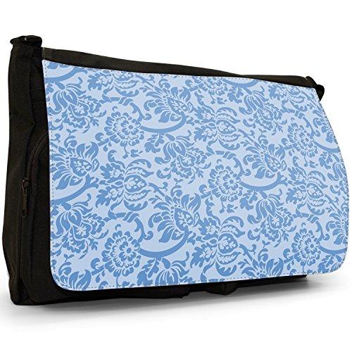 Carta da parati con motivo floreale, Design–Borsa Tracolla Tela Nera Grande Scuola/Borsa Per Laptop Blue Floral Wallpaper Design