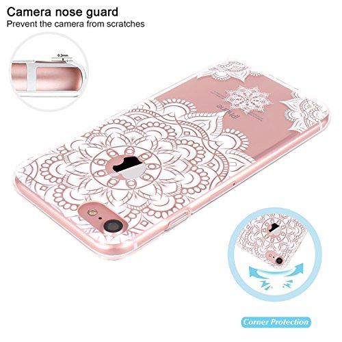 iPhone 7 Hülle, JIAXIUFEN TPU Silikon Schutz Handy Hülle Handytasche HandyHülle Etui Schale Schutzhülle Case Cover für Apple iPhone 7 / iPhone 8 - Rose Flower Floral Floral