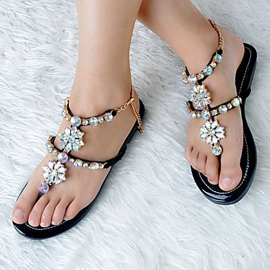 LXILX Damen Sandalen Frühling Sommer Herbst andere PU-Party & Abendkleid and Low Heel Strass Blume Schwarz Mandel Black
