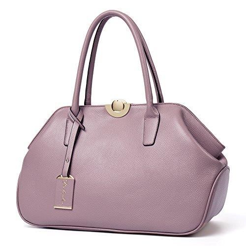 BOSTANTEN Vera Pelle Borsa Donna Sacchetta Tote a Spalla Manico Bowling Bag Top-Handle rosa