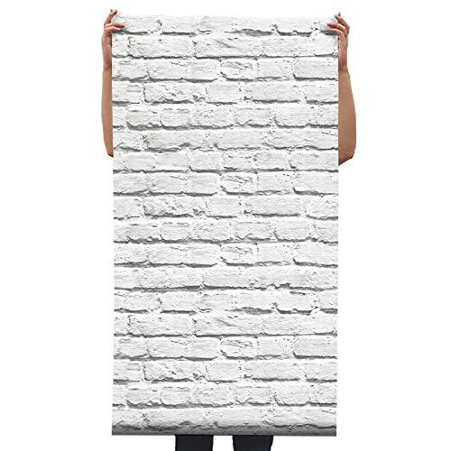 BIZHIGE Moderne Weiße Ziegelsteintapete 3D Retro Wohnzimmerstudio-Kleidungsspeicherhintergrundwandverkleidungswandpapierrollen Für Wände 3 D-330 × 210Cm