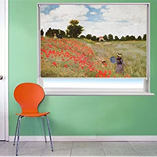 MONET POPPY FIELD ART Printed Picture Blackout Photo Roller Blind - Custom Made Printed Window Blind