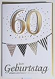 Geburtstagskarte 60 weiß gold schwarz Unsere allerbesten Glückwünsche